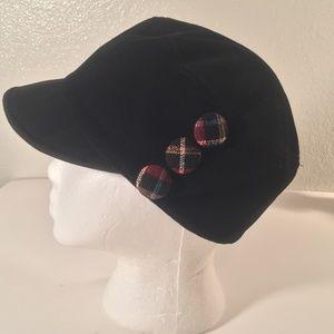 Scala black plaid button newsboy cap